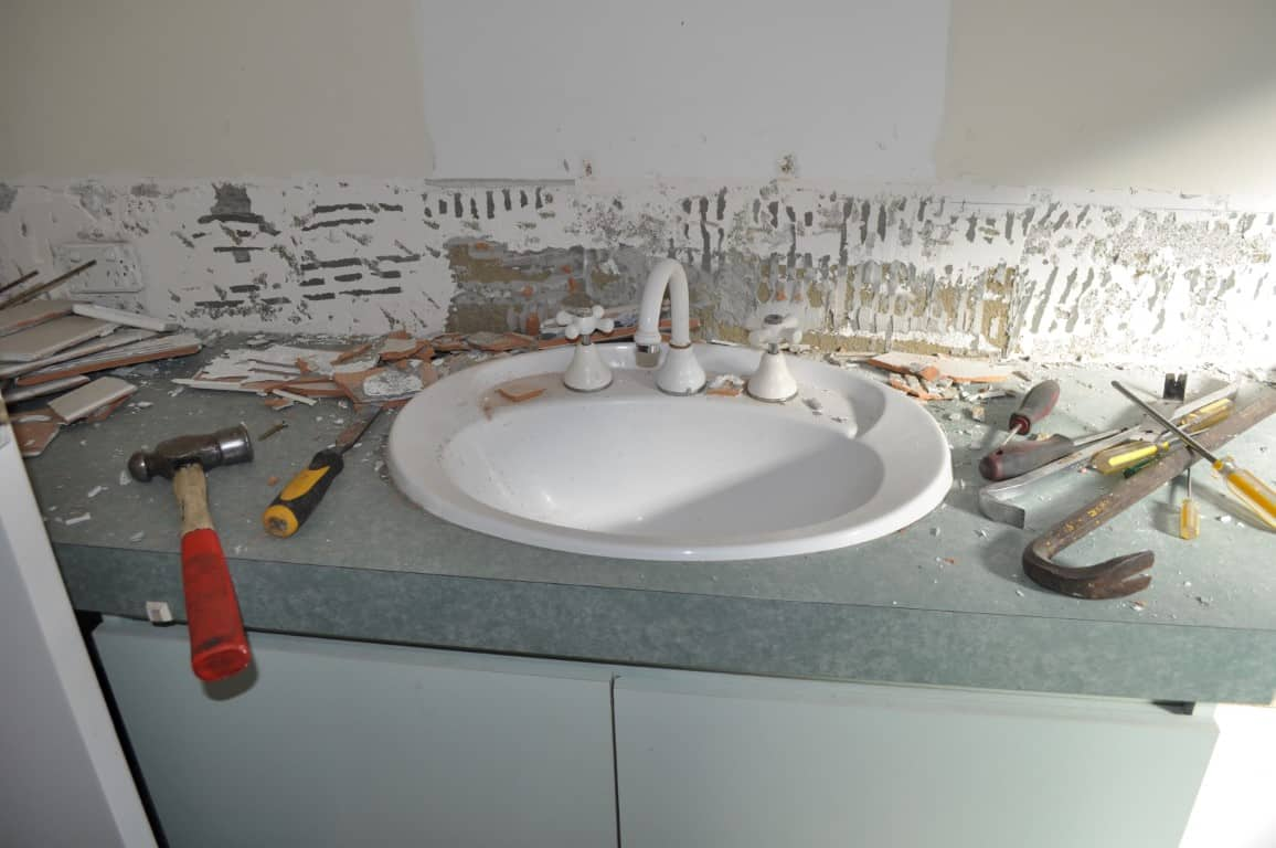 bathroom sink and splash back renovation